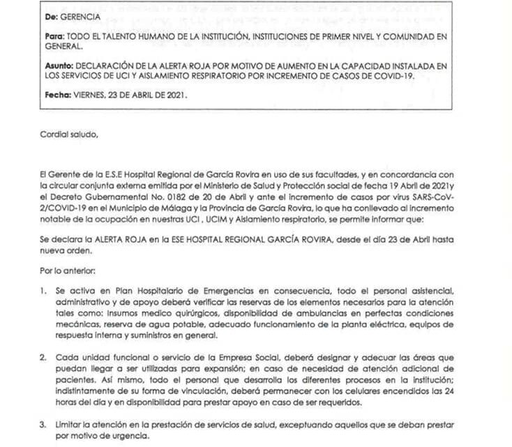 Alerta roja en Hospital Regional de García Rovira