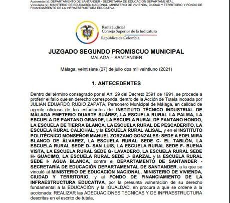 ¿Secretaria de educación de Santander suspenderá clases en Málaga?
