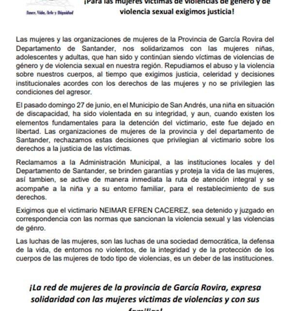Mujeres en García Rovira exigen justicia ¿Qué dice el comunicado?