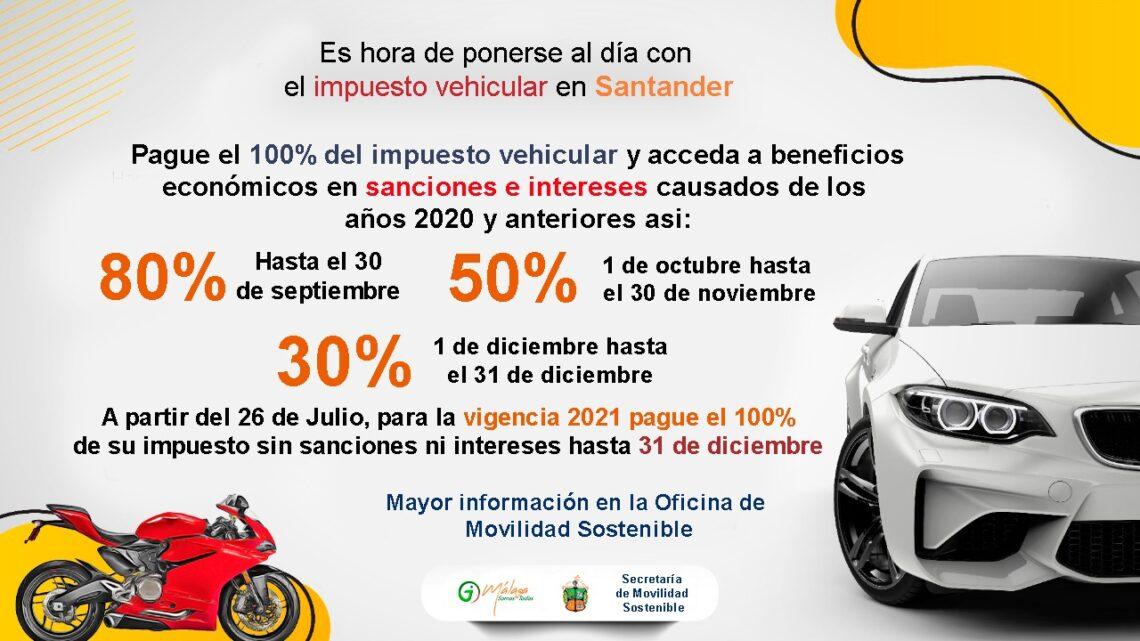 ¡ Ahorre dinero ! Descuentos hasta del 80% en impuesto vehicular aplica para Málaga y Santander