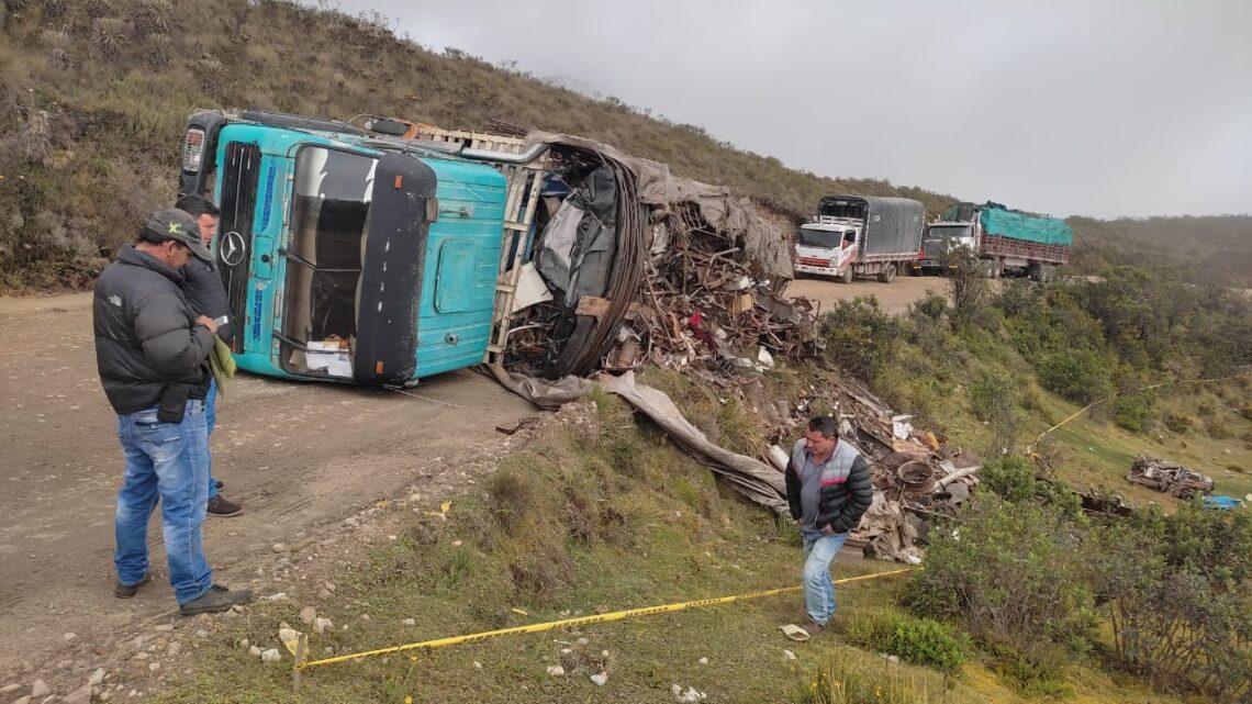 Accidente se presentó ayer en el páramo del Almorzadero